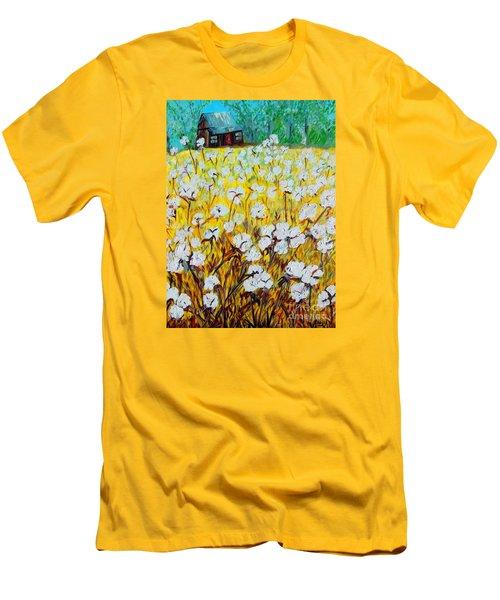 Cotton Fields Back Home Men's T-Shirt (Slim Fit) by Eloise Schneider