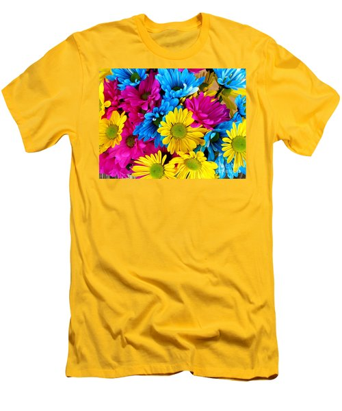 Men's T-Shirt (Slim Fit) featuring the photograph Daisys Flowers Bloom Colorful Petals Nature by Paul Fearn
