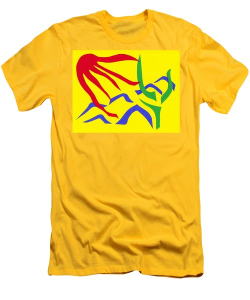 Men's T-Shirt (Slim Fit) featuring the mixed media Desert Sun by Delin Colon
