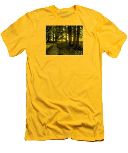 Forest Path Men's T-Shirt (Slim Fit) by Jean OKeeffe Macro Abundance Art
