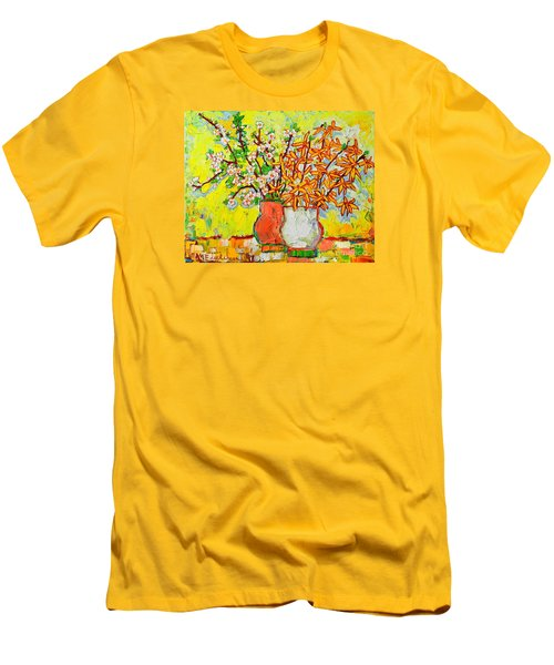 Forsythia And Cherry Blossoms Spring Flowers Men's T-Shirt (Slim Fit) by Ana Maria Edulescu
