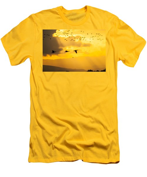 Geese At Sunset-2 Men's T-Shirt (Slim Fit) by Brian Williamson