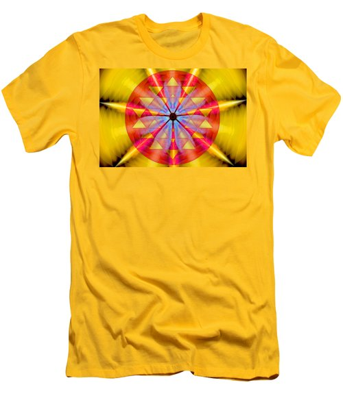 Men's T-Shirt (Slim Fit) featuring the drawing Geo-cosmic Sri Yantra by Derek Gedney