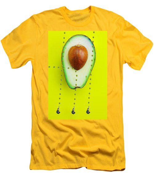 Men's T-Shirt (Slim Fit) featuring the photograph Hunters Depicting Rutherford Atomic Model By Avocado Food Physics by Paul Ge