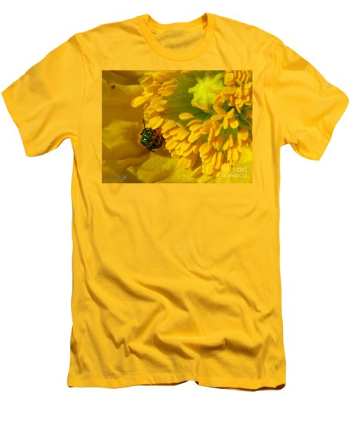 Men's T-Shirt (Slim Fit) featuring the photograph Iceland Poppy Pollination by J McCombie