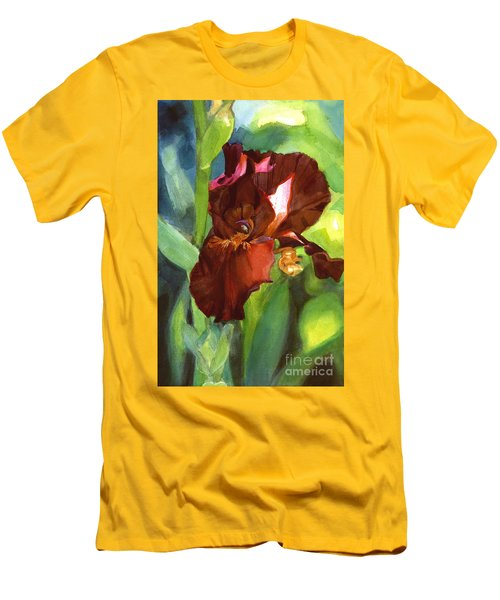 Men's T-Shirt (Slim Fit) featuring the painting Iris Sienna Brown by Greta Corens