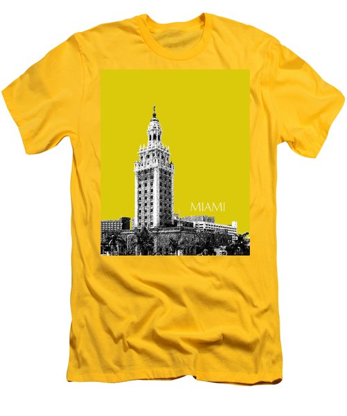 Miami Skyline Freedom Tower - Mustard Men's T-Shirt (Athletic Fit)