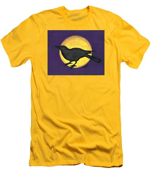 Night Crow On Purple Men's T-Shirt (Athletic Fit)