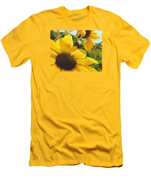 Silver Leaf Sunflowers Men's T-Shirt (Athletic Fit)