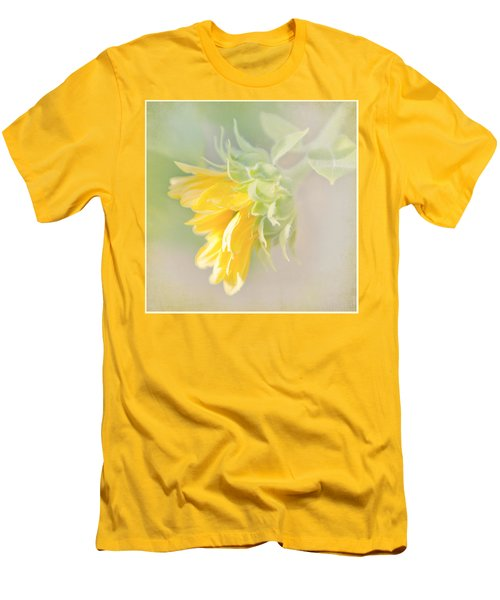 Men's T-Shirt (Slim Fit) featuring the photograph Soft Yellow Sunflower Just Starting To Bloom by Patti Deters