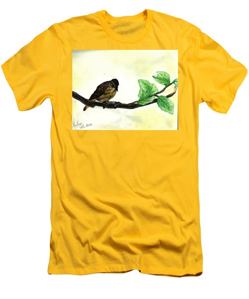 Sparrow On A Branch Men's T-Shirt (Slim Fit)