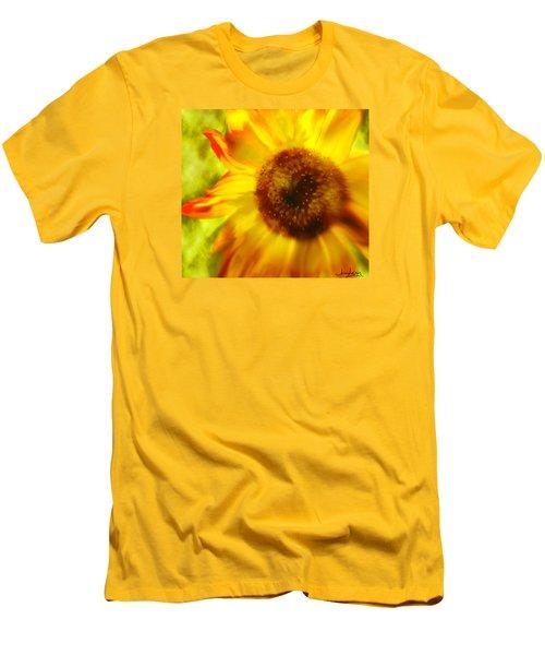 Men's T-Shirt (Slim Fit) featuring the digital art Sunflower-a-blaze by Janie Johnson