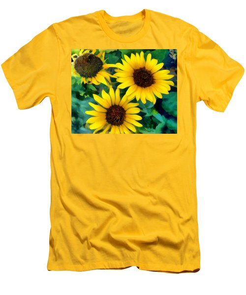 Sunflower Trio  Men's T-Shirt (Slim Fit) by Ann Powell