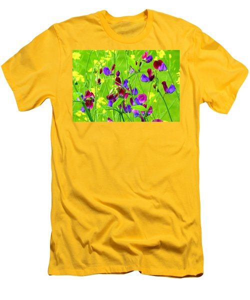 Men's T-Shirt (Slim Fit) featuring the photograph Sweet Peas by Byron Varvarigos