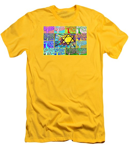 -tree Of Life Star Men's T-Shirt (Slim Fit) by Sandra Silberzweig