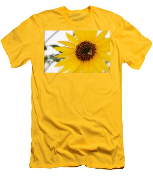 Men's T-Shirt (Slim Fit) featuring the photograph Vivid Sunflower With Bee Fine Art Nature Photography  by Jerry Cowart