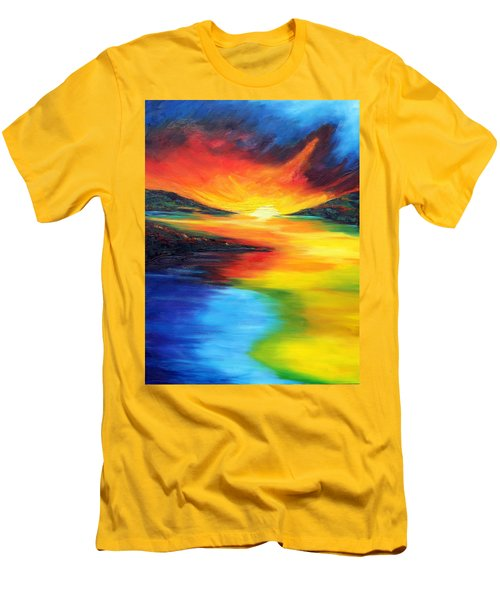 Men's T-Shirt (Slim Fit) featuring the painting Waters Of Home by Meaghan Troup