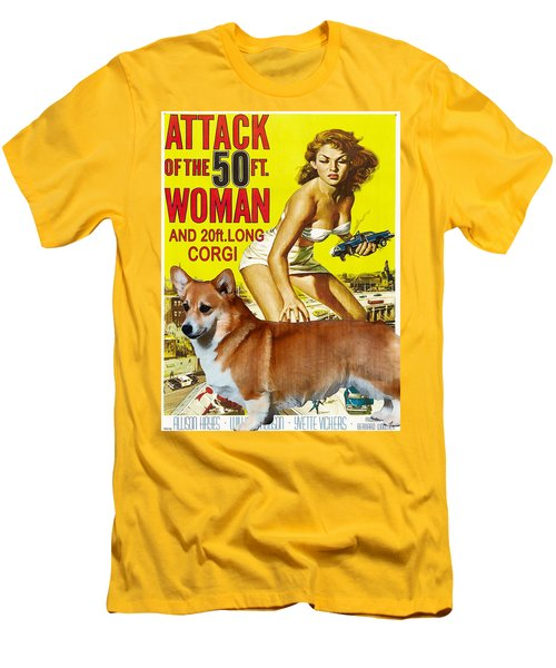 Welsh Corgi Pembroke Art Canvas Print - Attack Of The 50ft Woman Movie Poster Men's T-Shirt (Athletic Fit)