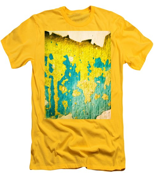 Men's T-Shirt (Slim Fit) featuring the photograph Yellow And Green Abstract Wall by Silvia Ganora