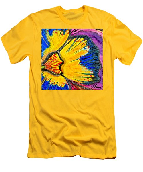 Men's T-Shirt (Slim Fit) featuring the painting Yellow Blue Flower by Joan Reese