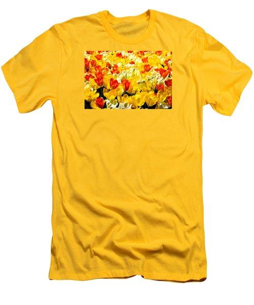 Yellow Red And White Tulips Men's T-Shirt (Slim Fit) by Menachem Ganon