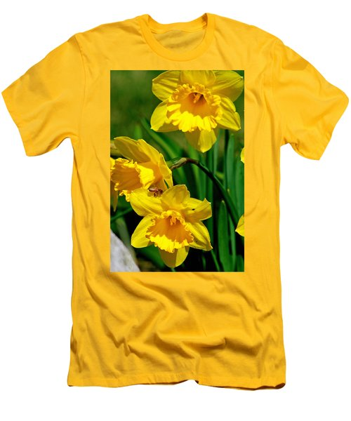 Men's T-Shirt (Slim Fit) featuring the photograph Yellow Daffodils And Honeybee by Kay Novy