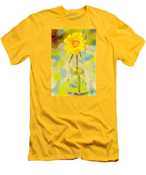 Yellow Flower Men's T-Shirt (Slim Fit) by Toni Hopper