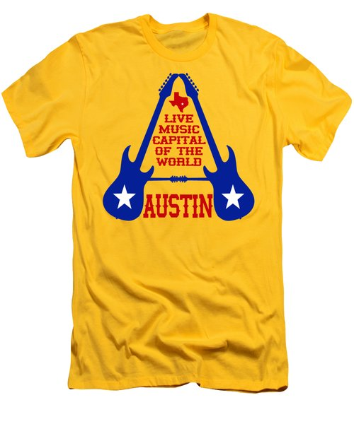 Austin Live Music Capital Of The World Men's T-Shirt (Slim Fit) by David G Paul
