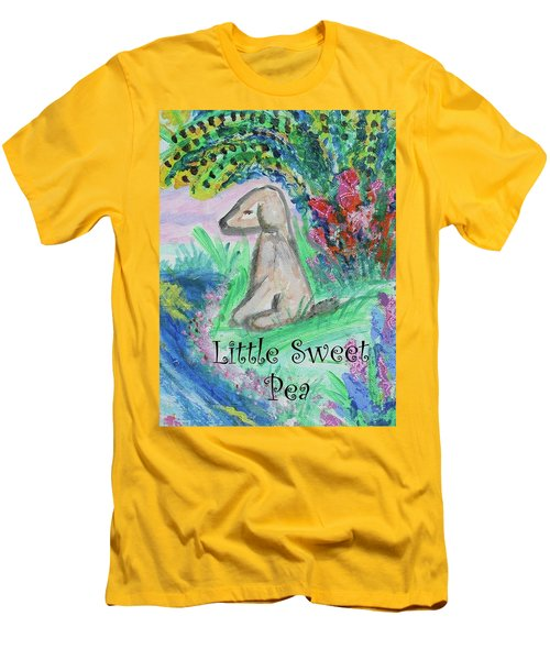 Men's T-Shirt (Slim Fit) featuring the painting Little Sweet Pea With Title by Diane Pape