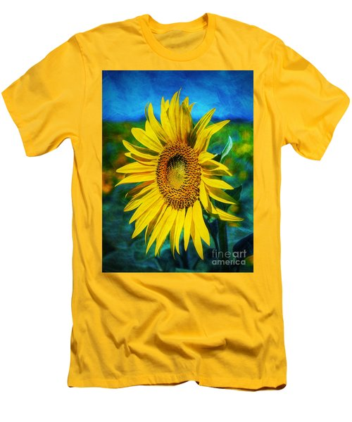 Men's T-Shirt (Slim Fit) featuring the digital art Sunflower by Ian Mitchell