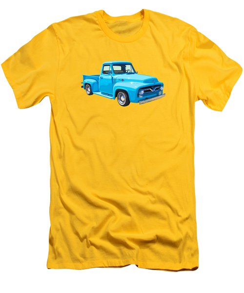 1955 Ford F100 Blue Pickup Truck Canvas Men's T-Shirt (Slim Fit) by Keith Webber Jr