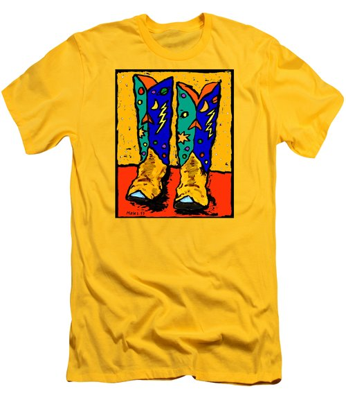 Boots On Yellow Men's T-Shirt (Athletic Fit)