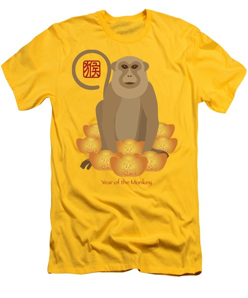 2016 Chinese Year Of The Monkey With Gold Bars Men's T-Shirt (Slim Fit) by Jit Lim