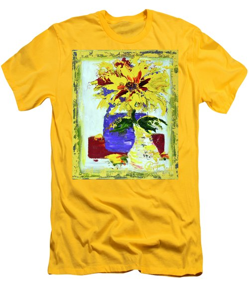 Abstract Sunflower Men's T-Shirt (Slim Fit) by Lynda Cookson