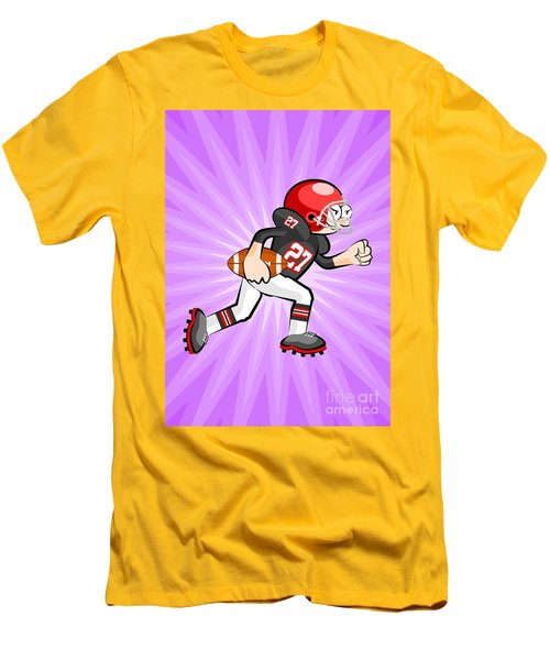 American Football Player Running With Ball In Hand On Violet Ray Background Men's T-Shirt (Athletic Fit)