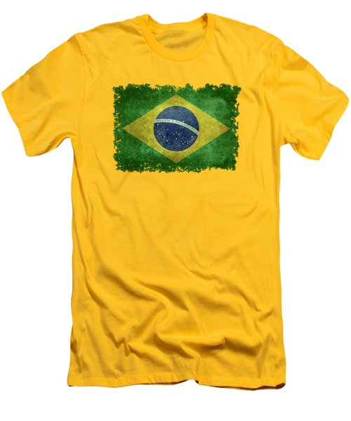 Flag Of Brazil Vintage 18x24 Crop Version Men's T-Shirt (Slim Fit) by Bruce Stanfield