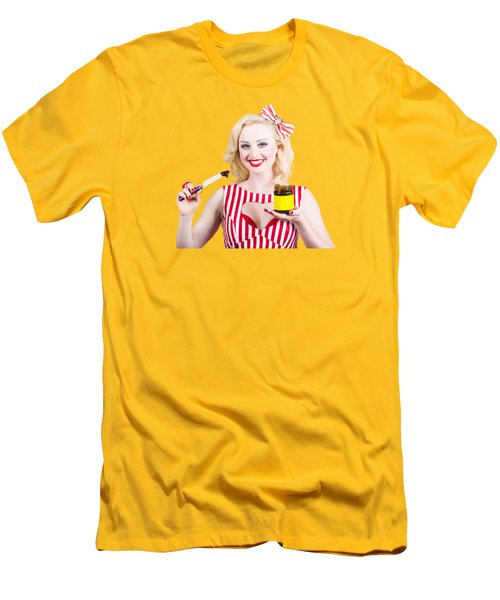 Australian Pinup Woman Holding Sandwich Spread Men's T-Shirt (Slim Fit)