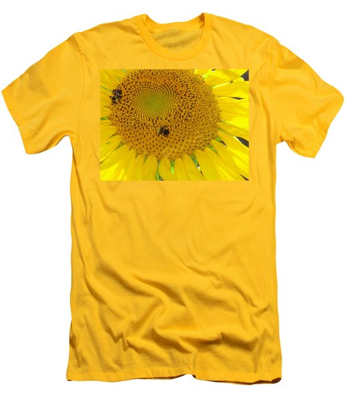 Men's T-Shirt (Slim Fit) featuring the photograph Bees Share A Sunflower by Sandi OReilly