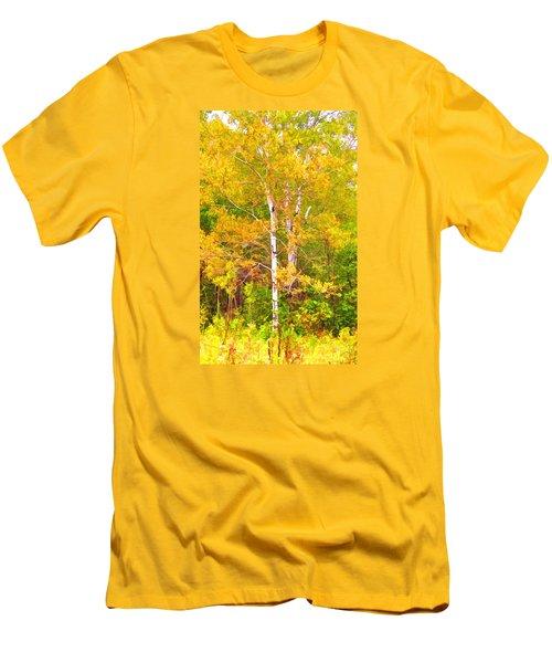 Birch Afire  Men's T-Shirt (Slim Fit) by Susan Crossman Buscho