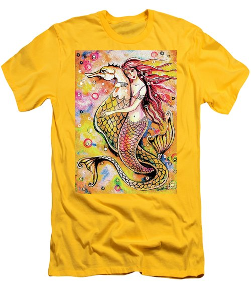 Men's T-Shirt (Slim Fit) featuring the painting Black Sea Mermaid by Eva Campbell