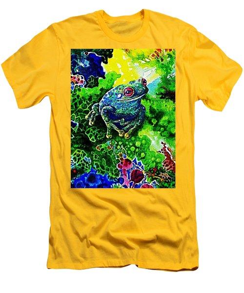 Blue  Frog Men's T-Shirt (Slim Fit) by Hartmut Jager