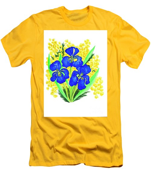 Blue Irises And Mimosa Men's T-Shirt (Athletic Fit)