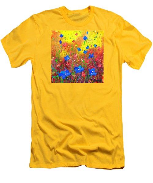 Blue Posies Men's T-Shirt (Slim Fit) by Tracy Bonin