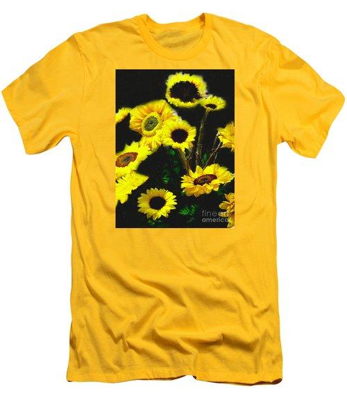 Men's T-Shirt (Slim Fit) featuring the photograph Bouquet Of Sunflowers by Merton Allen