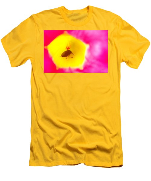 Men's T-Shirt (Slim Fit) featuring the photograph Bug In Pink And Yellow Flower  by Ben and Raisa Gertsberg