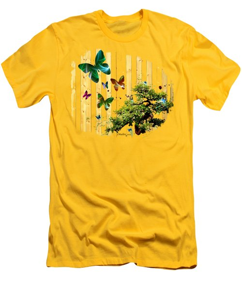 Men's T-Shirt (Slim Fit) featuring the digital art Butterfly Garden by Jennifer Muller
