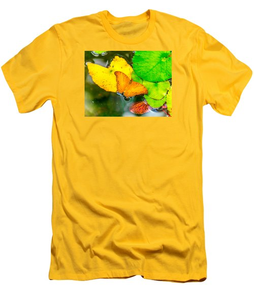 Butterfly On Lilies Men's T-Shirt (Slim Fit) by Jerry Cahill