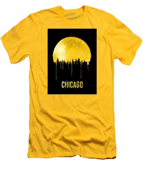 Chicago Skyline Yellow Men's T-Shirt (Slim Fit) by Naxart Studio