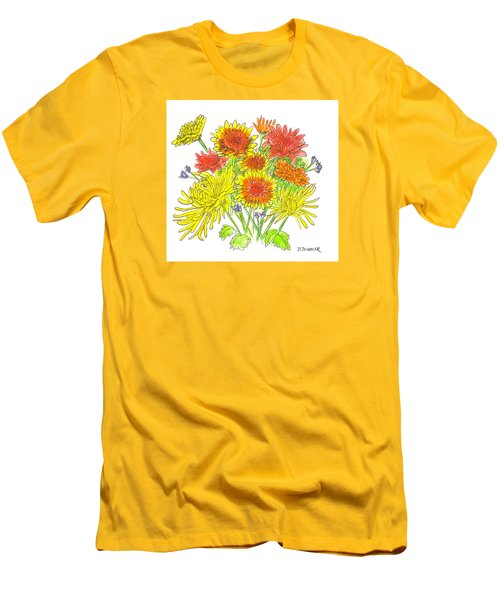 Chrysanthemums Men's T-Shirt (Slim Fit) by Deborah Dendler