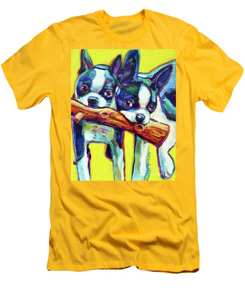 Men's T-Shirt (Slim Fit) featuring the painting Cute Boston Terriers by Robert Phelps